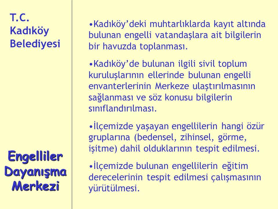 Kadıköy'deki muhtarlıklarda kayıt altında bulunan engelli vatandaşlara ait bilgilerin bir havuzda toplanması.