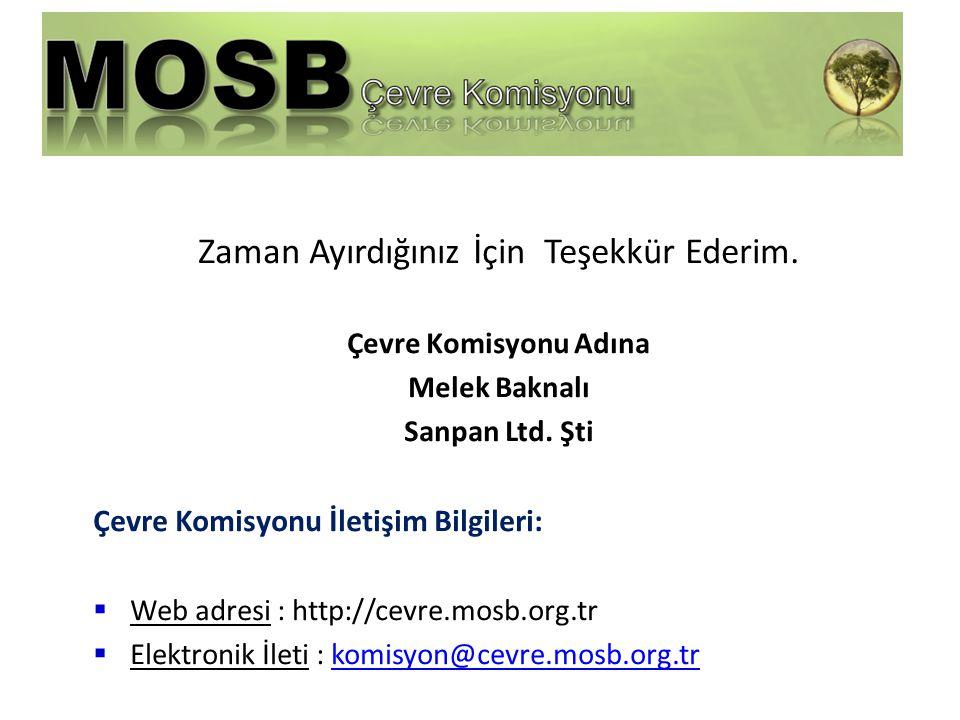 Zaman Ayırdığınız İçin Teşekkür Ederim. Çevre Komisyonu Adına Melek Baknalı Sanpan Ltd.