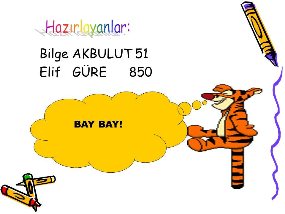 Bilge AKBULUT 51 Elif GÜRE 850 BAY BAY!