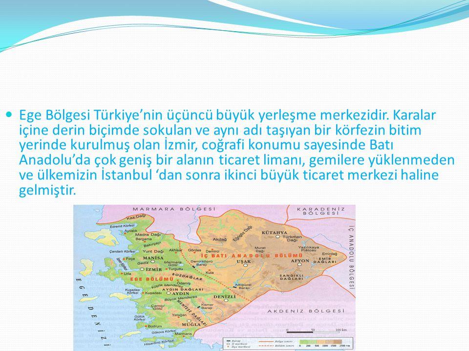 Ege Bölgesi Türkiye'nin üçüncü büyük yerleşme merkezidir. Karalar içine derin biçimde sokulan ve aynı adı taşıyan bir körfezin bitim yerinde kurulmuş