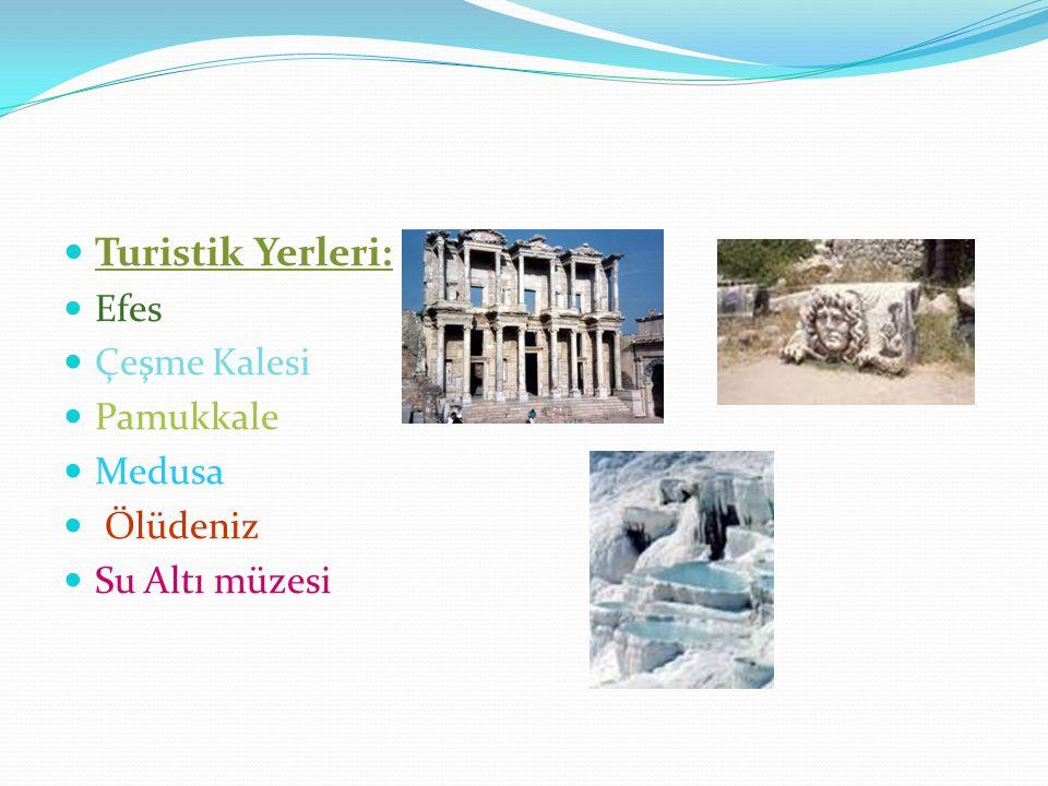 Turistik Yerleri: Efes Çeşme Kalesi Pamukkale Medusa Ölüdeniz Su Altı müzesi