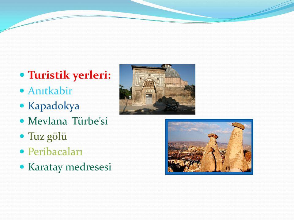 Turistik yerleri: Anıtkabir Kapadokya Mevlana Türbe'si Tuz gölü Peribacaları Karatay medresesi