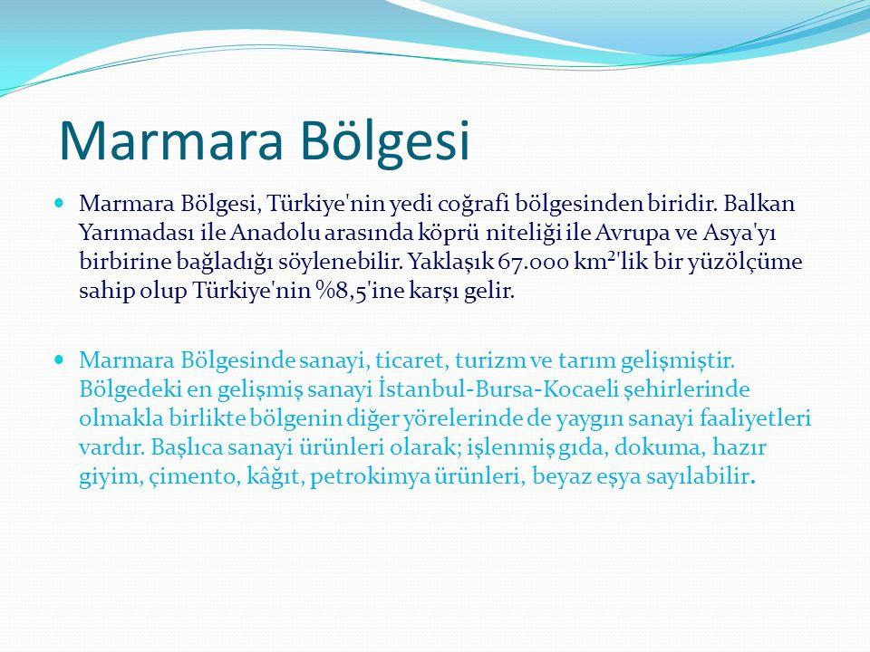 Marmara Bölgesi Marmara Bölgesi, Türkiye'nin yedi coğrafi bölgesinden biridir. Balkan Yarımadası ile Anadolu arasında köprü niteliği ile Avrupa ve Asy