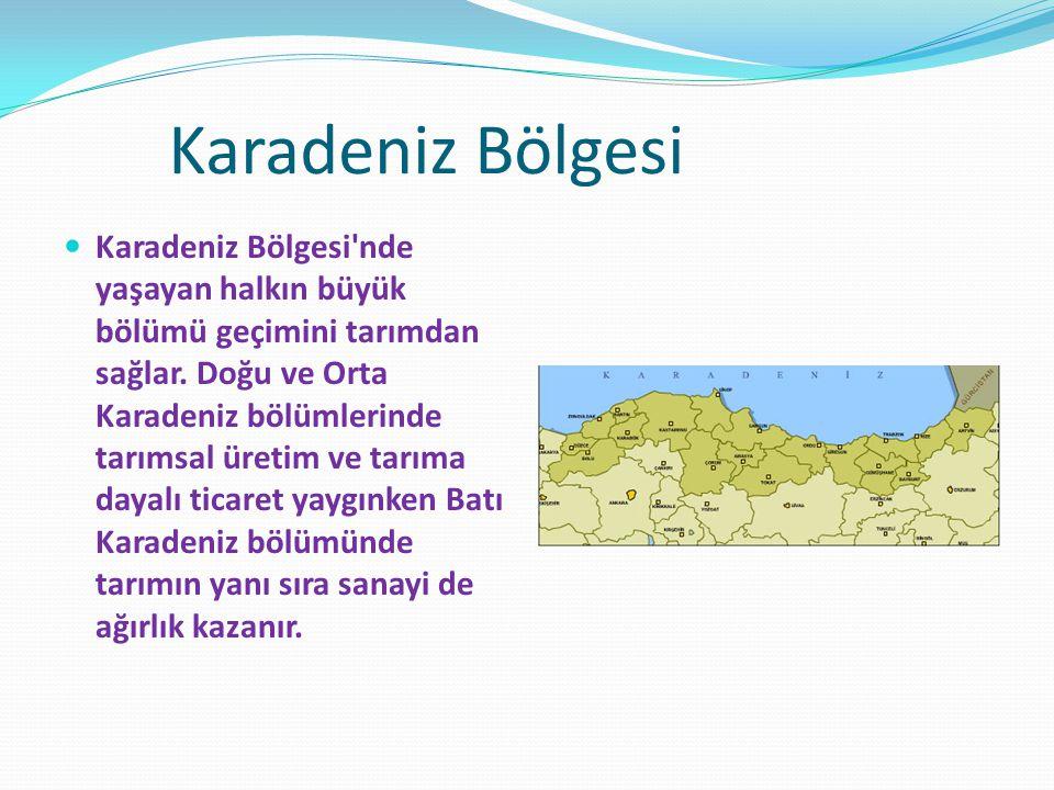 Karadeniz Bölgesi Karadeniz Bölgesi'nde yaşayan halkın büyük bölümü geçimini tarımdan sağlar. Doğu ve Orta Karadeniz bölümlerinde tarımsal üretim ve t
