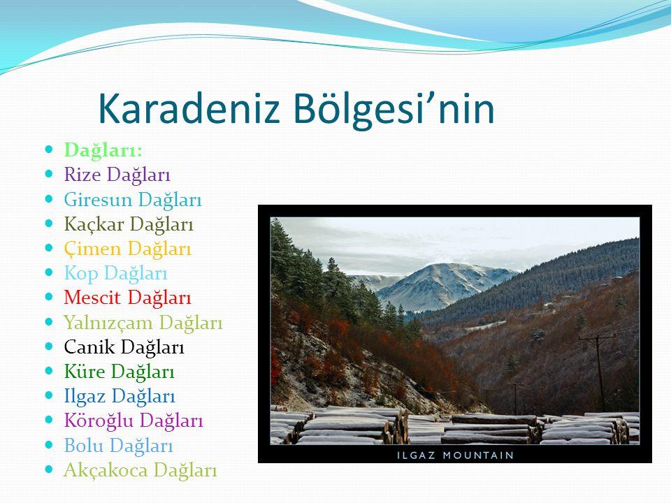 Karadeniz Bölgesi'nin Dağları: Rize Dağları Giresun Dağları Kaçkar Dağları Çimen Dağları Kop Dağları Mescit Dağları Yalnızçam Dağları Canik Dağları Kü