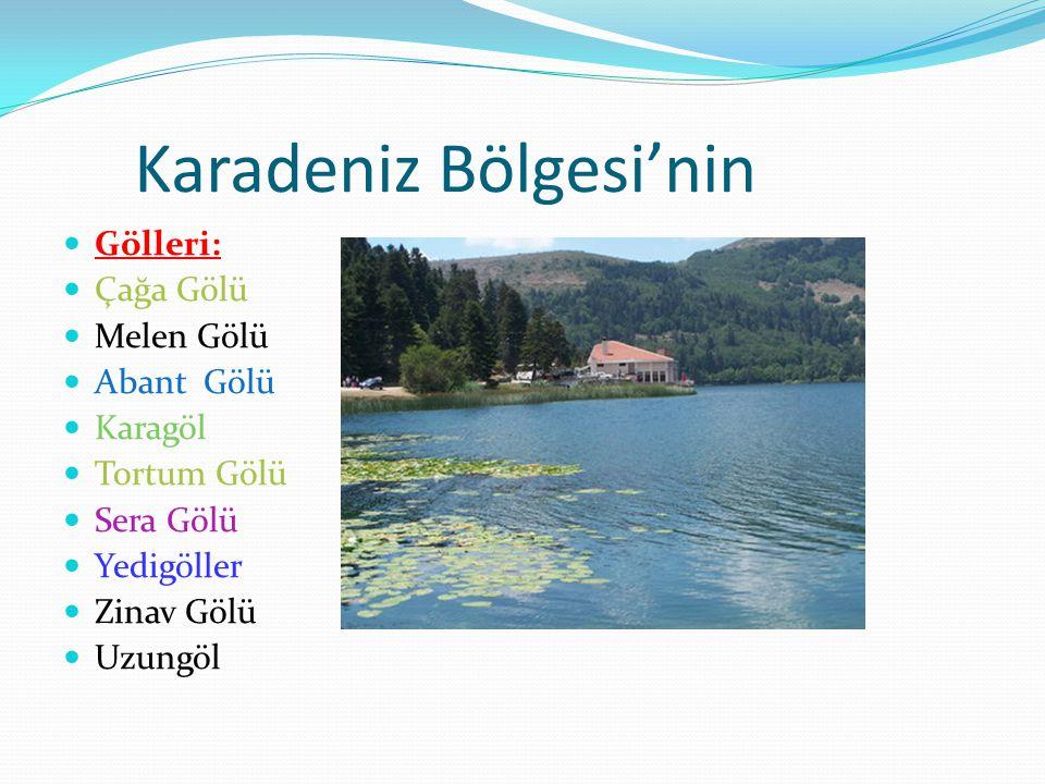Karadeniz Bölgesi'nin Gölleri: Çağa Gölü Melen Gölü Abant Gölü Karagöl Tortum Gölü Sera Gölü Yedigöller Zinav Gölü Uzungöl