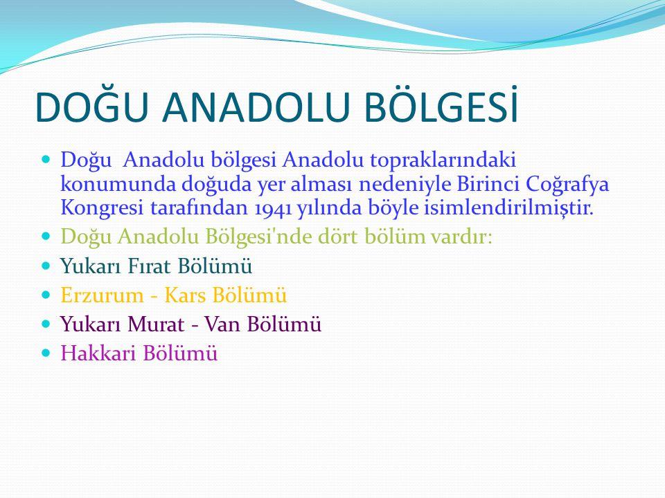 DOĞU ANADOLU BÖLGESİ Doğu Anadolu bölgesi Anadolu topraklarındaki konumunda doğuda yer alması nedeniyle Birinci Coğrafya Kongresi tarafından 1941 yılında böyle isimlendirilmiştir.