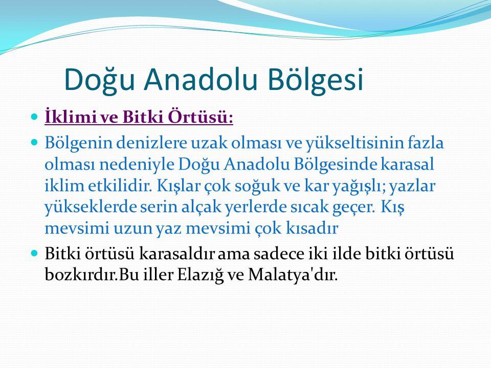 Doğu Anadolu Bölgesi İklimi ve Bitki Örtüsü: Bölgenin denizlere uzak olması ve yükseltisinin fazla olması nedeniyle Doğu Anadolu Bölgesinde karasal iklim etkilidir.