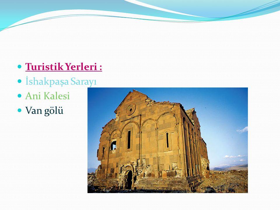 Turistik Yerleri : İshakpaşa Sarayı Ani Kalesi Van gölü