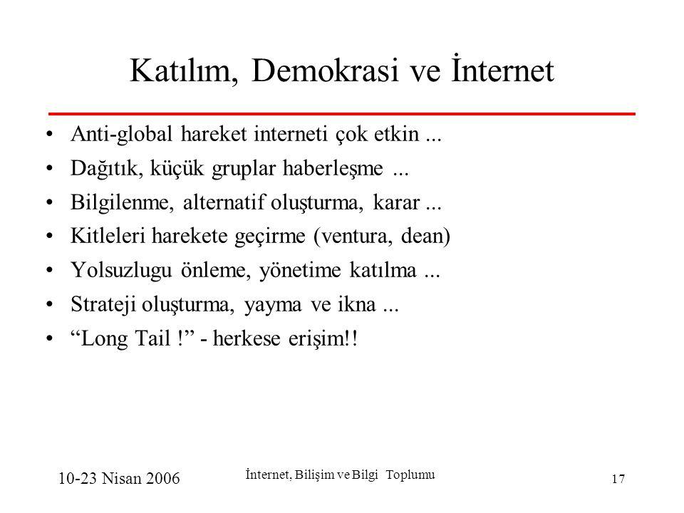 10-23 Nisan 2006 İnternet, Bilişim ve Bilgi Toplumu 17 Katılım, Demokrasi ve İnternet Anti-global hareket interneti çok etkin...