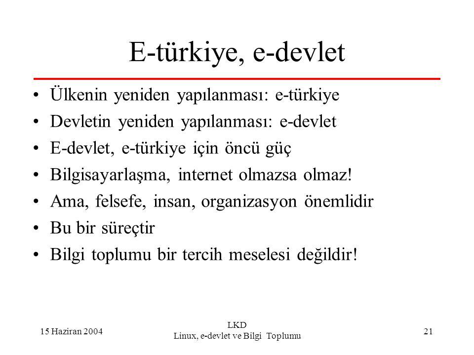 15 Haziran 2004 LKD Linux, e-devlet ve Bilgi Toplumu 21 E-türkiye, e-devlet Ülkenin yeniden yapılanması: e-türkiye Devletin yeniden yapılanması: e-devlet E-devlet, e-türkiye için öncü güç Bilgisayarlaşma, internet olmazsa olmaz.