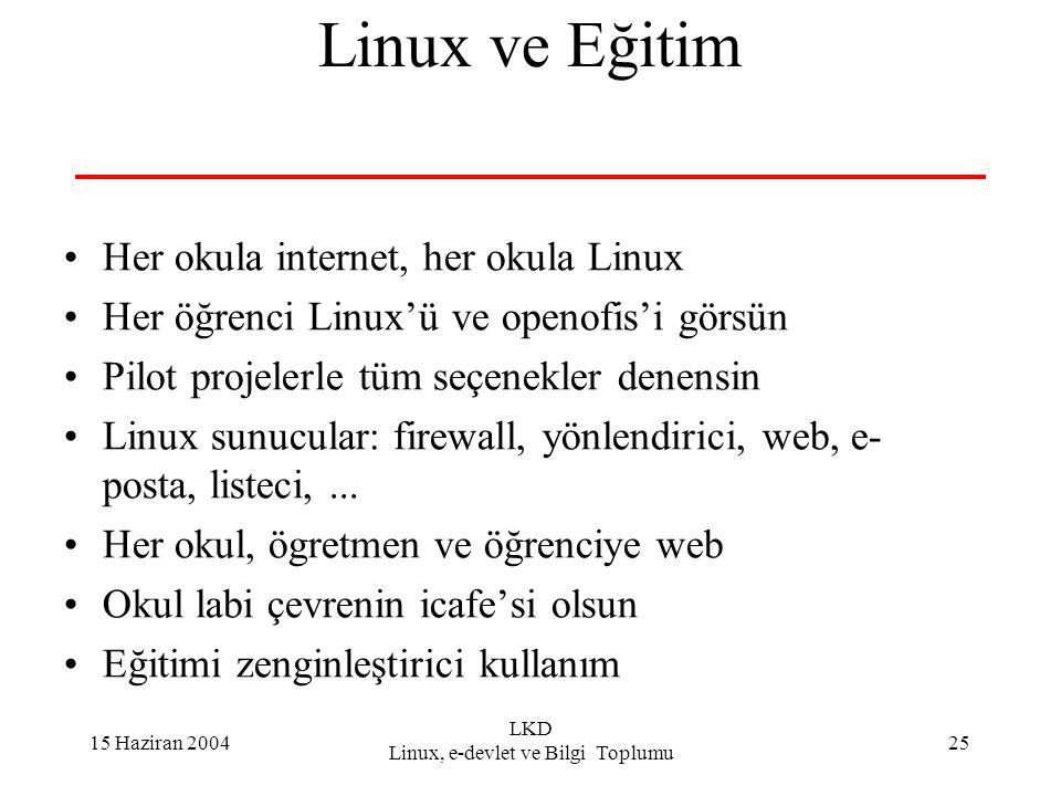 15 Haziran 2004 LKD Linux, e-devlet ve Bilgi Toplumu 25 Linux ve Eğitim Her okula internet, her okula Linux Her öğrenci Linux'ü ve openofis'i görsün Pilot projelerle tüm seçenekler denensin Linux sunucular: firewall, yönlendirici, web, e- posta, listeci,...