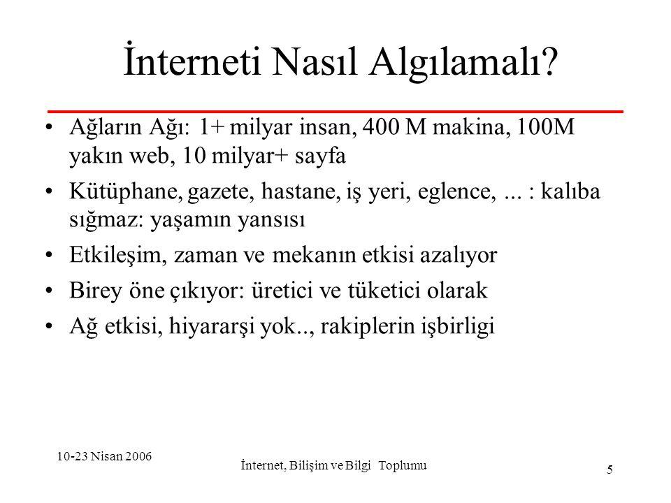 10-23 Nisan 2006 İnternet, Bilişim ve Bilgi Toplumu 16 Bilişim Sektörü için: Yatay rolu çok önemli Yatay için de gelişmesi gerekir Tutarlı politikalar gerekli-sistem yaklaşımı Bilişim-internet olmazsa olmaz koşuldur Ama, Tek başına yetmez: tutarlı ulusal...