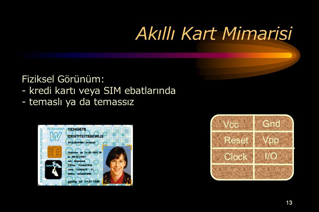 12 Akıllı Kart Uygulamaları Eğitim –fiziksel erişim –ağ erişimi –kişisel bilgiler –kafeterya Ofis Uygulamaları –fiziksel erişim –ağ erişimi –zaman kay