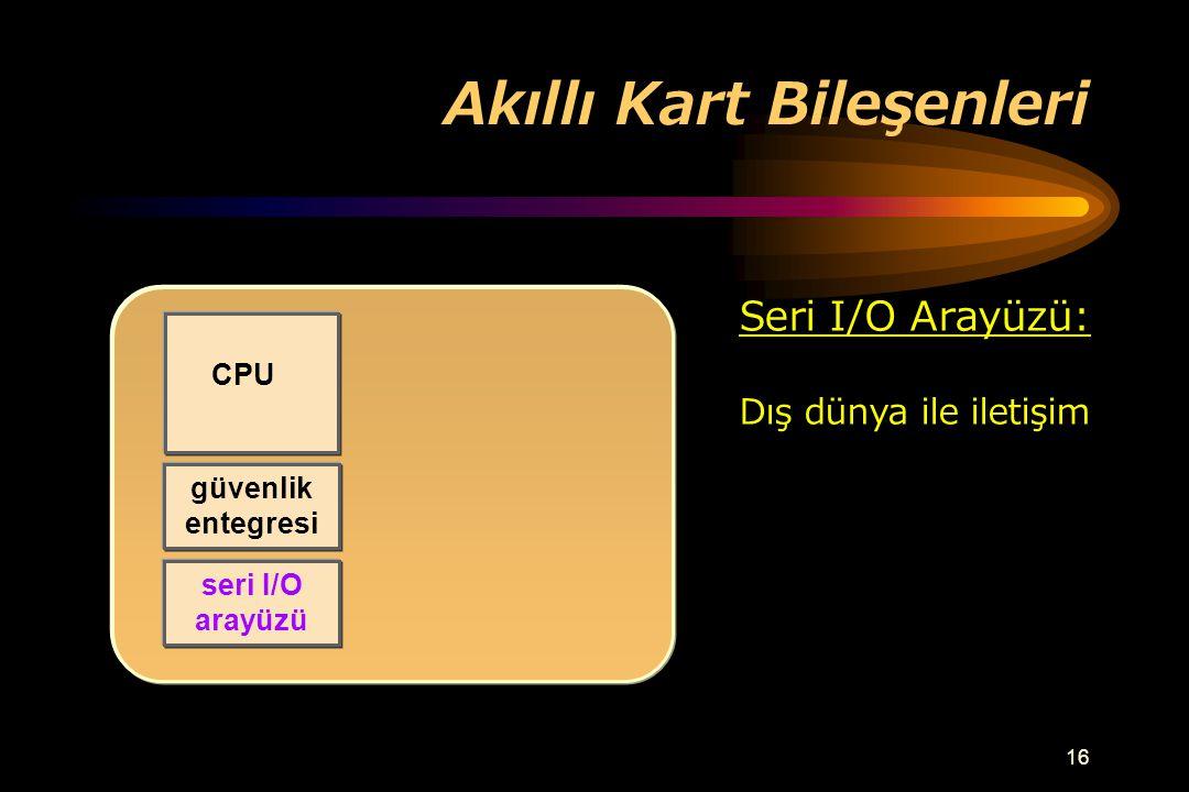 15 Akıllı Kart Bileşenleri CPU güvenlik entegresi Güvenlik Entegresi: Anormal durumları farketme Ör: Düşük voltaj