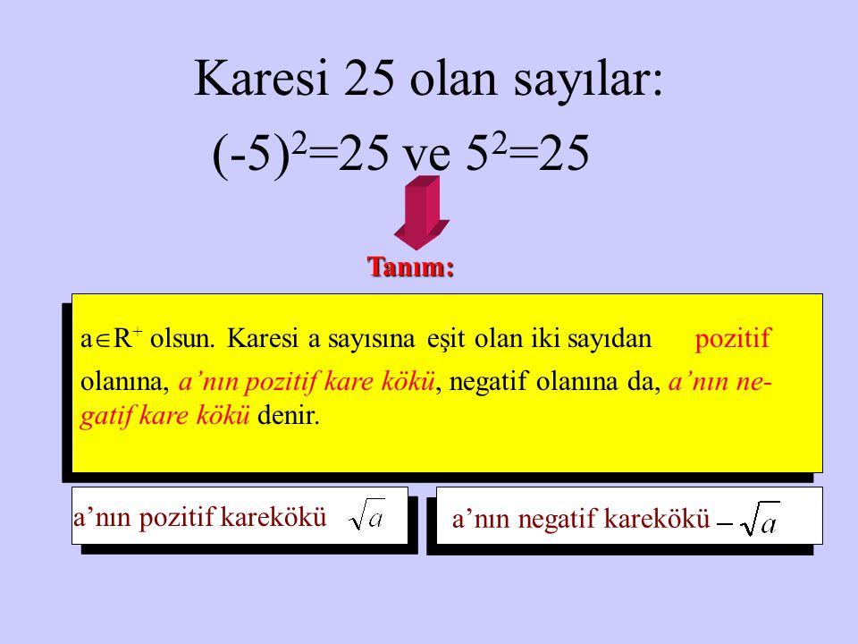 Karesi 25 olan sayılar: (-5) 2 =25 ve 5 2 =25 Tanım: aR+ aR+ olsun. Karesi a sayısına eşit olan iki sayıdan pozitif olanına, a'nın pozitif kare kökü