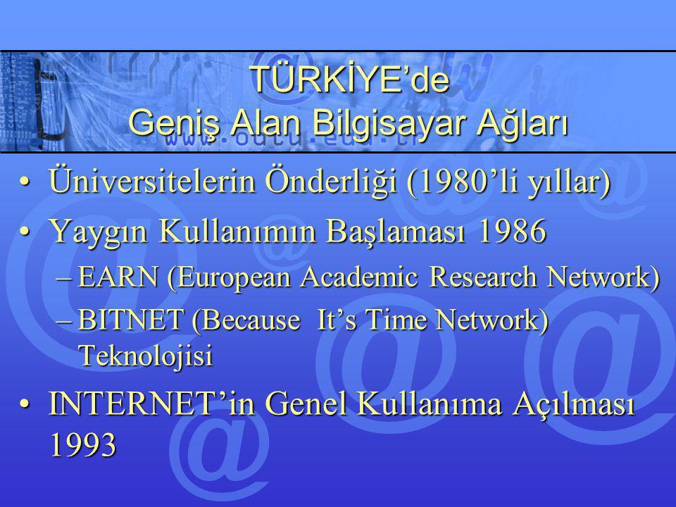 TÜRKİYE'de Geniş Alan Bilgisayar Ağları Üniversitelerin Önderliği (1980'li yıllar)Üniversitelerin Önderliği (1980'li yıllar) Yaygın Kullanımın Başlama