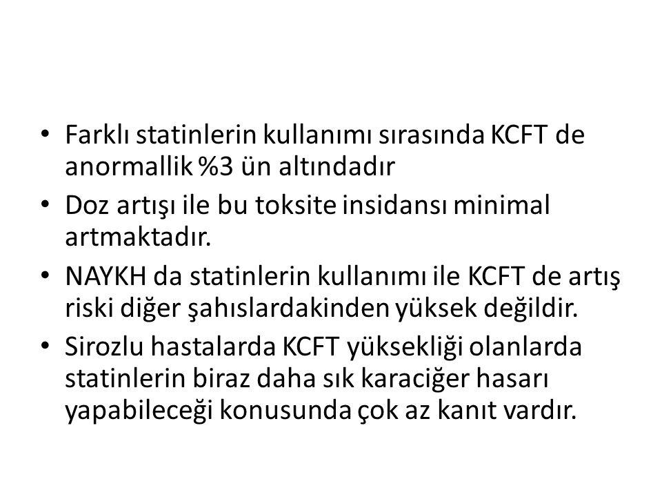 Farklı statinlerin kullanımı sırasında KCFT de anormallik %3 ün altındadır Doz artışı ile bu toksite insidansı minimal artmaktadır. NAYKH da statinler