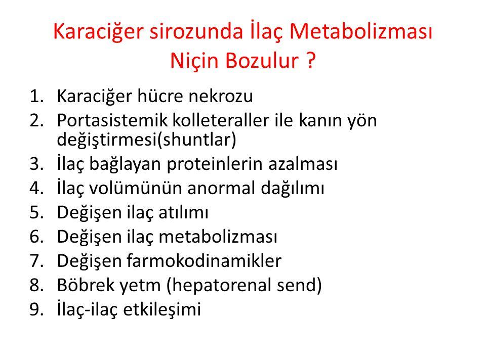 Karaciğer sirozunda İlaç Metabolizması Niçin Bozulur ? 1.Karaciğer hücre nekrozu 2.Portasistemik kolleteraller ile kanın yön değiştirmesi(shuntlar) 3.