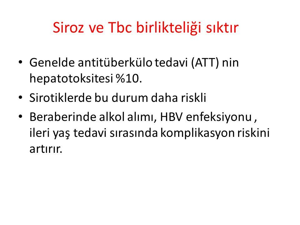 Siroz ve Tbc birlikteliği sıktır Genelde antitüberkülo tedavi (ATT) nin hepatotoksitesi %10. Sirotiklerde bu durum daha riskli Beraberinde alkol alımı