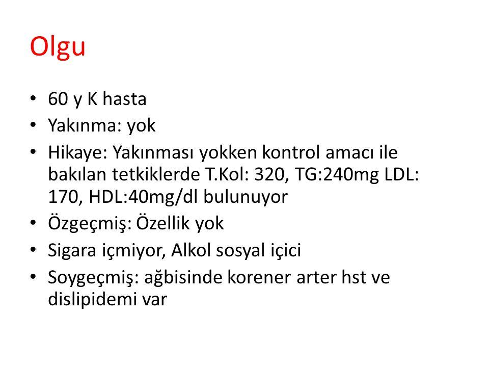 Olgu 60 y K hasta Yakınma: yok Hikaye: Yakınması yokken kontrol amacı ile bakılan tetkiklerde T.Kol: 320, TG:240mg LDL: 170, HDL:40mg/dl bulunuyor Özg