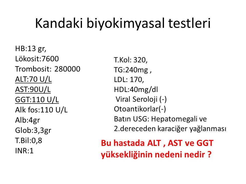 Kandaki biyokimyasal testleri HB:13 gr, Lökosit:7600 Trombosit: 280000 ALT:70 U/L AST:90U/L GGT:110 U/L Alk fos:110 U/L Alb:4gr Glob:3,3gr T.Bil:0,8 I