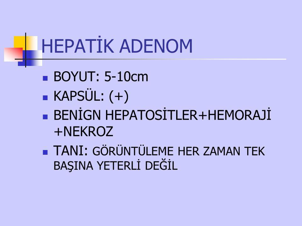 HEPATİK ADENOM BOYUT: 5-10cm KAPSÜL: (+) BENİGN HEPATOSİTLER+HEMORAJİ +NEKROZ TANI: GÖRÜNTÜLEME HER ZAMAN TEK BAŞINA YETERLİ DEĞİL
