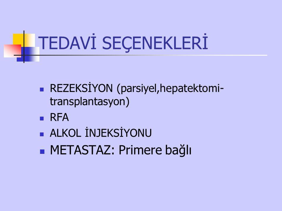 TEDAVİ SEÇENEKLERİ REZEKSİYON (parsiyel,hepatektomi- transplantasyon) RFA ALKOL İNJEKSİYONU METASTAZ: Primere bağlı