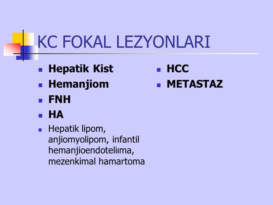KC FOKAL LEZYONLARI Hepatik Kist Hemanjiom FNH HA Hepatik lipom, anjiomyolipom, infantil hemanjioendoteliıma, mezenkimal hamartoma HCC METASTAZ