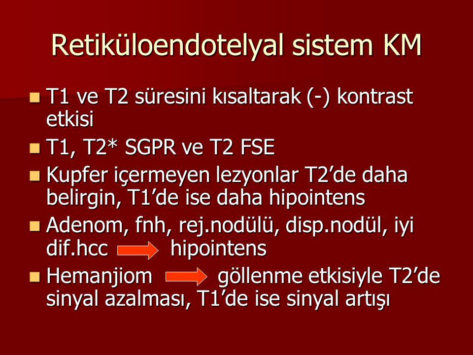 Retiküloendotelyal sistem KM T1 ve T2 süresini kısaltarak (-) kontrast etkisi T1 ve T2 süresini kısaltarak (-) kontrast etkisi T1, T2* SGPR ve T2 FSE T1, T2* SGPR ve T2 FSE Kupfer içermeyen lezyonlar T2'de daha belirgin, T1'de ise daha hipointens Kupfer içermeyen lezyonlar T2'de daha belirgin, T1'de ise daha hipointens Adenom, fnh, rej.nodülü, disp.nodül, iyi dif.hcchipointens Adenom, fnh, rej.nodülü, disp.nodül, iyi dif.hcchipointens Hemanjiomgöllenme etkisiyle T2'de sinyal azalması, T1'de ise sinyal artışı Hemanjiomgöllenme etkisiyle T2'de sinyal azalması, T1'de ise sinyal artışı