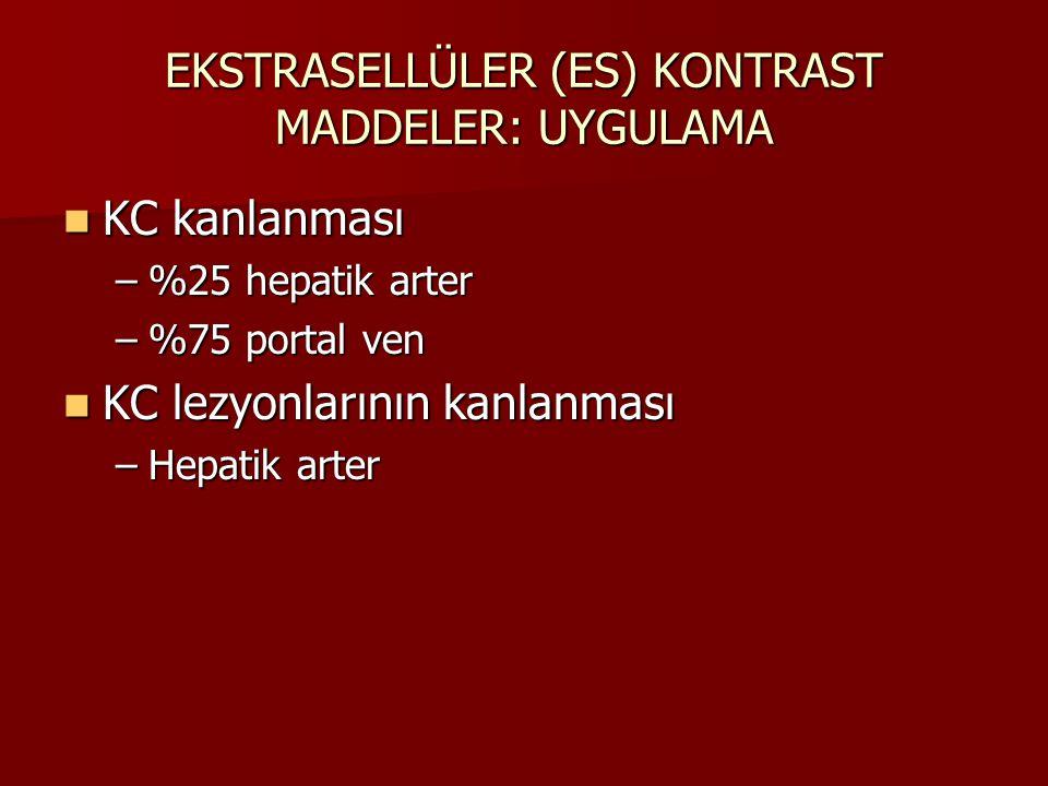 EKSTRASELLÜLER (ES) KONTRAST MADDELER: UYGULAMA Arteryel faz Arteryel faz –Hipervasküler lezyonlar hiperintens, KC hipointens (hcc, hemanjiom, fnh gibi) Portal faz Portal faz –Hipovasküler lezyonlar (metastazlar) Hepatik venöz faz Hepatik venöz faz –Hemanjiomlarda sentripedal kontrast tutulumu,hipervasküler lezyonlardan kontrast yıkanışı