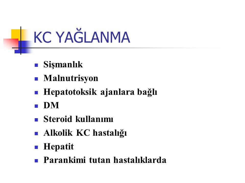 KC YAĞLANMA Sişmanlık Malnutrisyon Hepatotoksik ajanlara bağlı DM Steroid kullanımı Alkolik KC hastalığı Hepatit Parankimi tutan hastalıklarda