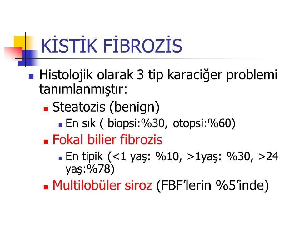 Histolojik olarak 3 tip karaciğer problemi tanımlanmıştır: Steatozis (benign) En sık ( biopsi:%30, otopsi:%60) Fokal bilier fibrozis En tipik ( 1yaş: %30, >24 yaş:%78) Multilobüler siroz (FBF'lerin %5'inde) KİSTİK FİBROZİS