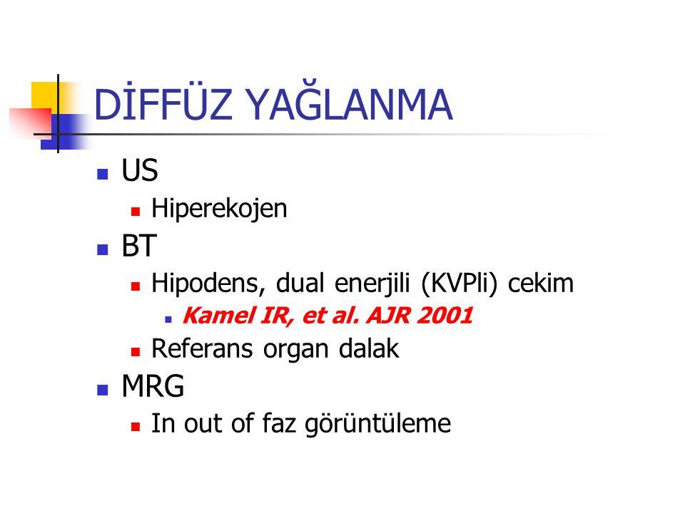 DİFFÜZ YAĞLANMA US Hiperekojen BT Hipodens, dual enerjili (KVPli) cekim Kamel IR, et al.