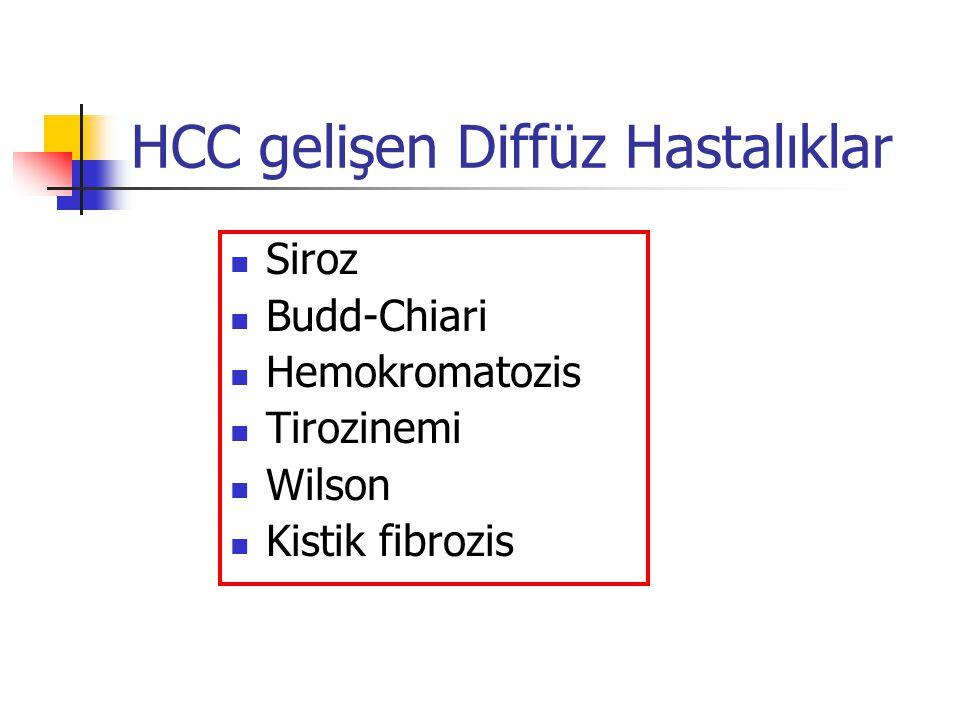 HCC gelişen Diffüz Hastalıklar Siroz Budd-Chiari Hemokromatozis Tirozinemi Wilson Kistik fibrozis