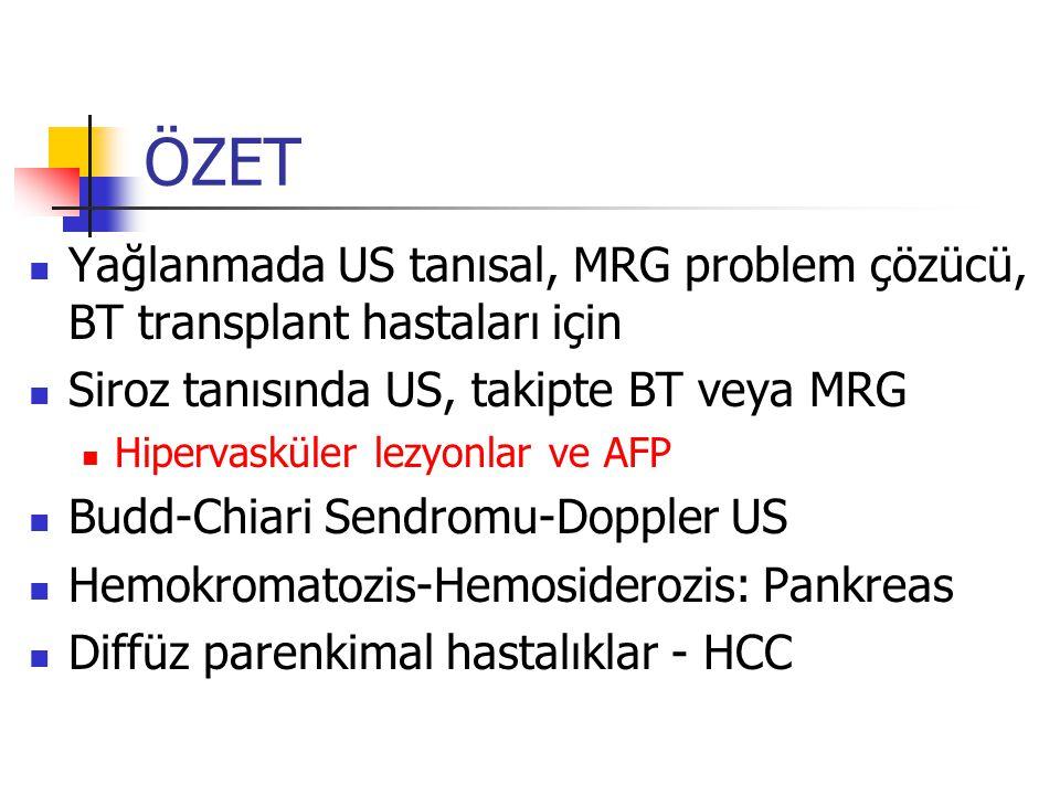 ÖZET Yağlanmada US tanısal, MRG problem çözücü, BT transplant hastaları için Siroz tanısında US, takipte BT veya MRG Hipervasküler lezyonlar ve AFP Budd-Chiari Sendromu-Doppler US Hemokromatozis-Hemosiderozis: Pankreas Diffüz parenkimal hastalıklar - HCC