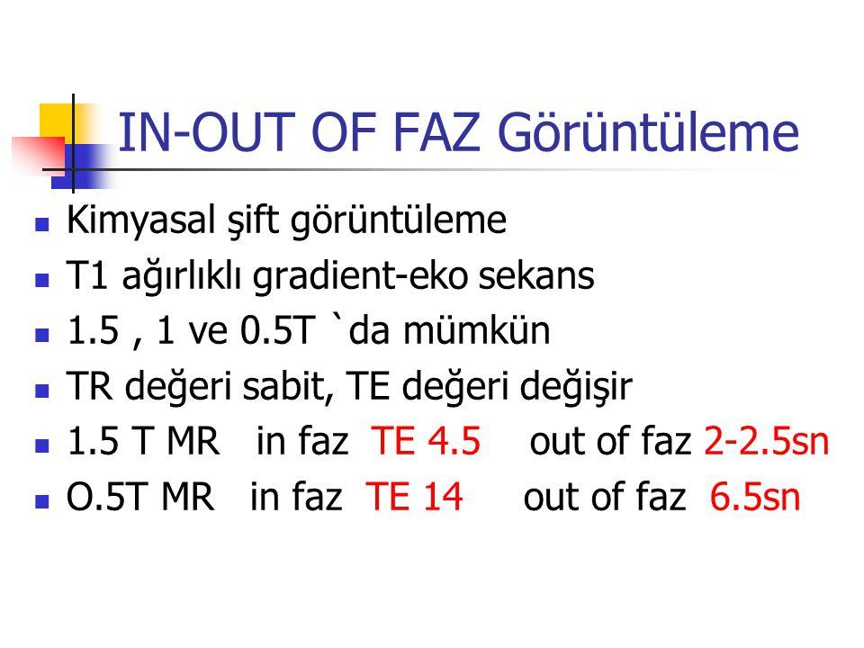 IN-OUT OF FAZ Görüntüleme Kimyasal şift görüntüleme T1 ağırlıklı gradient-eko sekans 1.5, 1 ve 0.5T `da mümkün TR değeri sabit, TE değeri değişir 1.5 T MR in faz TE 4.5 out of faz 2-2.5sn O.5T MR in faz TE 14 out of faz 6.5sn