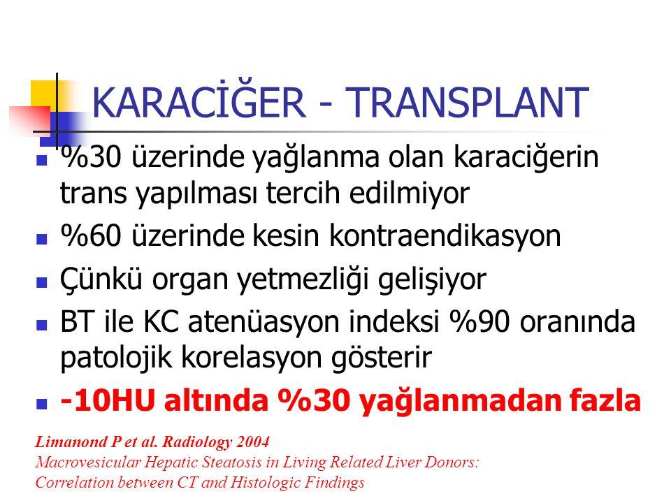KARACİĞER - TRANSPLANT %30 üzerinde yağlanma olan karaciğerin trans yapılması tercih edilmiyor %60 üzerinde kesin kontraendikasyon Çünkü organ yetmezliği gelişiyor BT ile KC atenüasyon indeksi %90 oranında patolojik korelasyon gösterir -10HU altında %30 yağlanmadan fazla Limanond P et al.