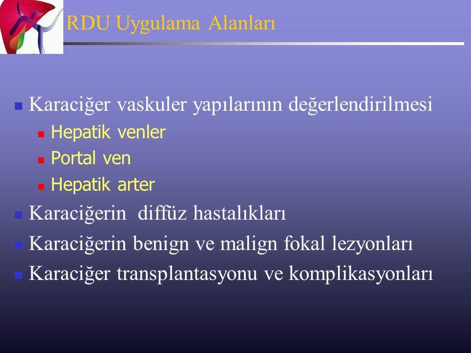 RDU Uygulama Tekniği 8-12 saatlik açlık Supin, Lateral dekupitis, gerektiğinde pron pozisyonu Prob seçimi: Konveks/sektör problar, 3.5-5 MHZ Subkostal, interkostal, epigastrik kesitler Renkli Doppler, Power Doppler, Gri skala akım görüntüleme (dynamic flow)