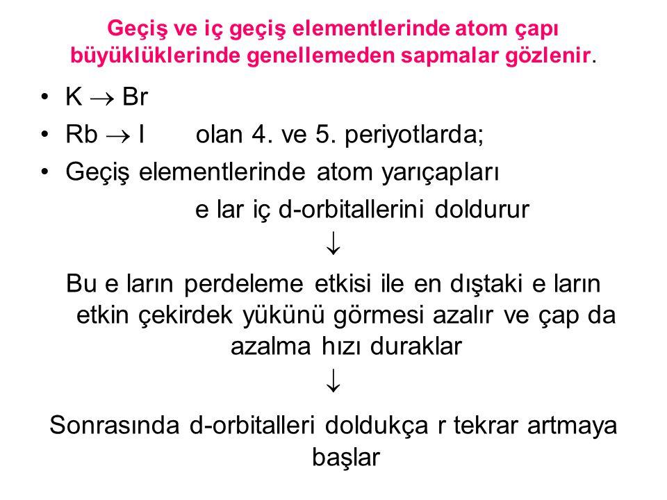Geçiş ve iç geçiş elementlerinde atom çapı büyüklüklerinde genellemeden sapmalar gözlenir. K  Br Rb  I olan 4. ve 5. periyotlarda; Geçiş elementleri