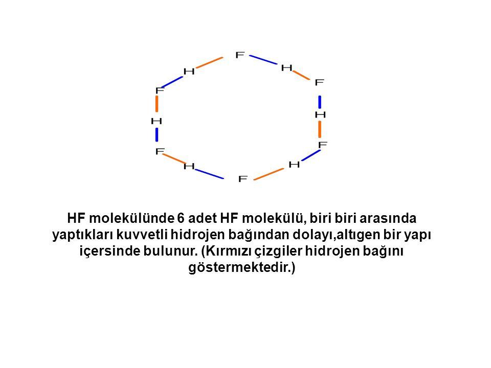 HF molekülünde 6 adet HF molekülü, biri biri arasında yaptıkları kuvvetli hidrojen bağından dolayı,altıgen bir yapı içersinde bulunur. (Kırmızı çizgil