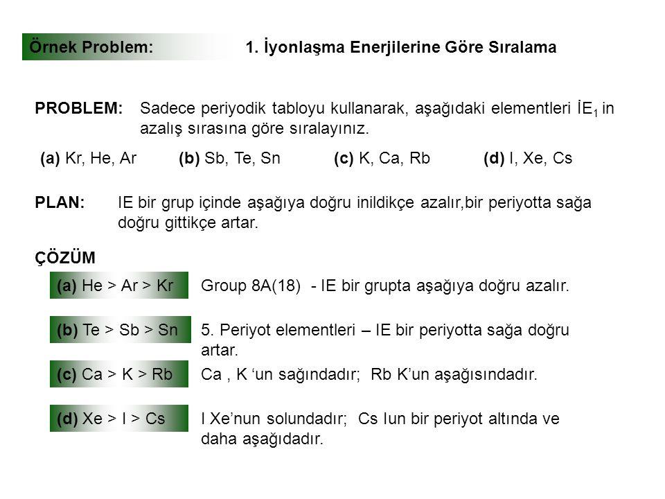 Örnek Problem:1. İyonlaşma Enerjilerine Göre Sıralama PLAN: ÇÖZÜM PROBLEM:Sadece periyodik tabloyu kullanarak, aşağıdaki elementleri İE 1 in azalış sı