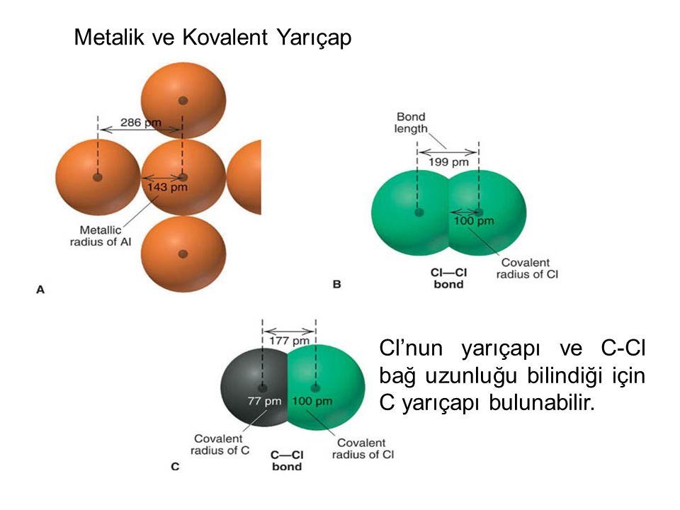 Metalik ve Kovalent Yarıçap Cl'nun yarıçapı ve C-Cl bağ uzunluğu bilindiği için C yarıçapı bulunabilir.
