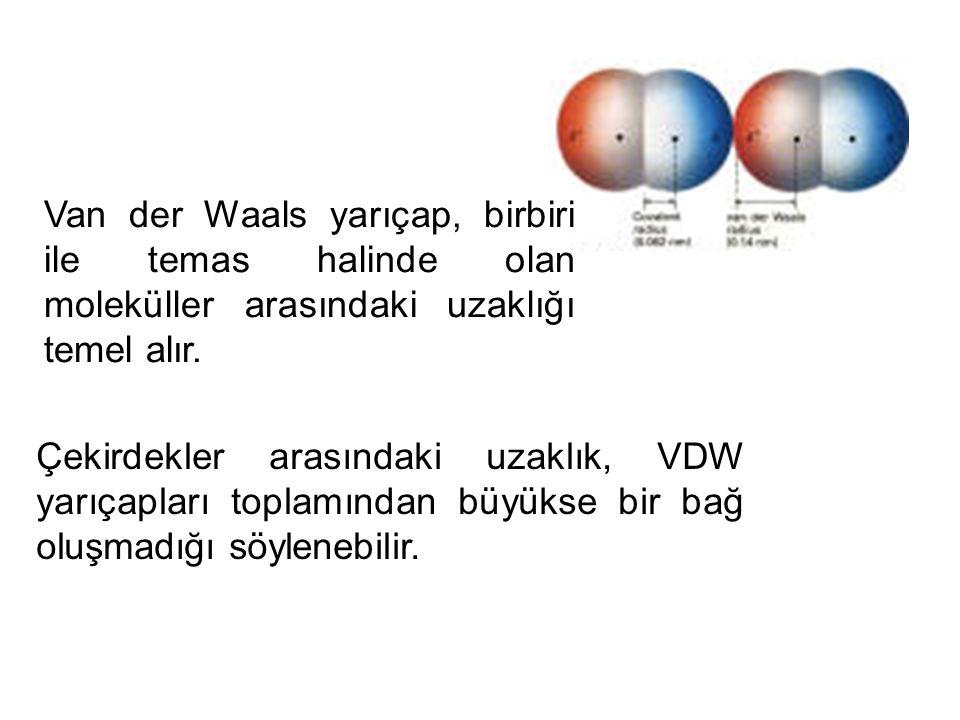 Van der Waals yarıçap, birbiri ile temas halinde olan moleküller arasındaki uzaklığı temel alır. Çekirdekler arasındaki uzaklık, VDW yarıçapları topla