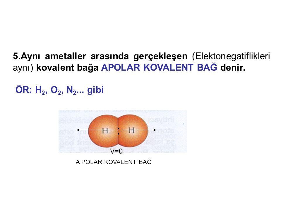 5.Aynı ametaller arasında gerçekleşen (Elektonegatiflikleri aynı) kovalent bağa APOLAR KOVALENT BAĞ denir. ÖR: H 2, O 2, N 2... gibi A POLAR KOVALENT
