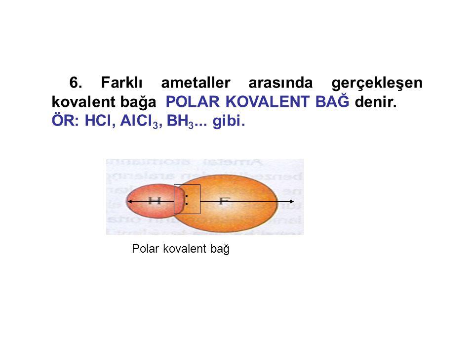 6. Farklı ametaller arasında gerçekleşen kovalent bağa POLAR KOVALENT BAĞ denir. ÖR: HCl, AlCl 3, BH 3... gibi. : Polar kovalent bağ
