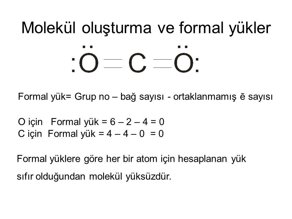 Molekül oluşturma ve formal yükler Formal yük= Grup no – bağ sayısı - ortaklanmamış ē sayısı O için Formal yük = 6 – 2 – 4 = 0 C için Formal yük = 4 –