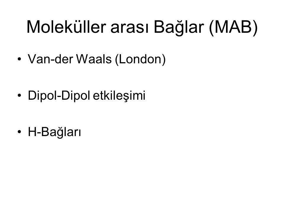 Moleküller arası Bağlar (MAB) Van-der Waals (London) Dipol-Dipol etkileşimi H-Bağları