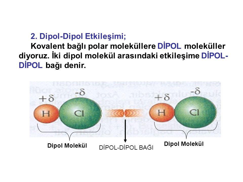 2. Dipol-Dipol Etkileşimi; Kovalent bağlı polar moleküllere DİPOL moleküller diyoruz. İki dipol molekül arasındaki etkileşime DİPOL- DİPOL bağı denir.