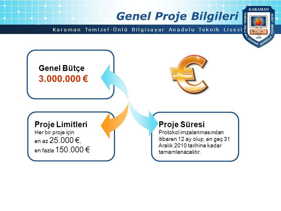 Karaman Temizel-Ünlü Bilgisayar Anadolu Teknik Lisesi Proje Limitleri Her bir proje için en az 25.000 €, en fazla 150.000 € Genel Proje Bilgileri Proj
